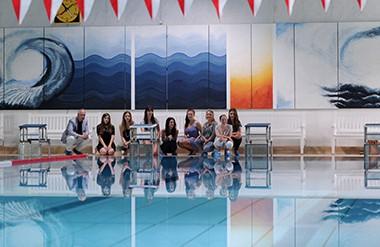 Titania-Therme Neusäß, Wandbild geschaffen von SchülerInnen der Oberstufe unter Leitung von Herrn Braun, Juli 2014