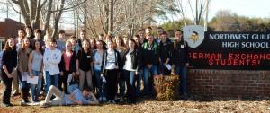 2015 März die Justus-AustauschschülerInnen bei der Ankunft an der Northwest Guilford High School in Greensboro North Carolina