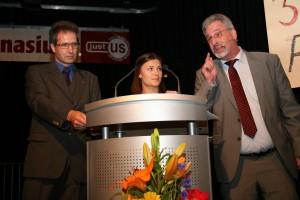 50 Jahre Justus - Trialog (EB-Vorsitzender Rindle, Schülersprecherin Gerstlauer, Lehrervertreter Dempf)